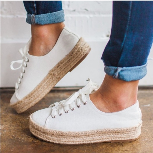 White Lace Up Espadrille Sneakers